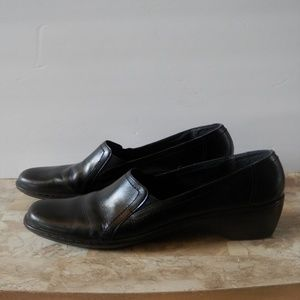 Clarks Black Leather Slip-On Wedge Loafers
